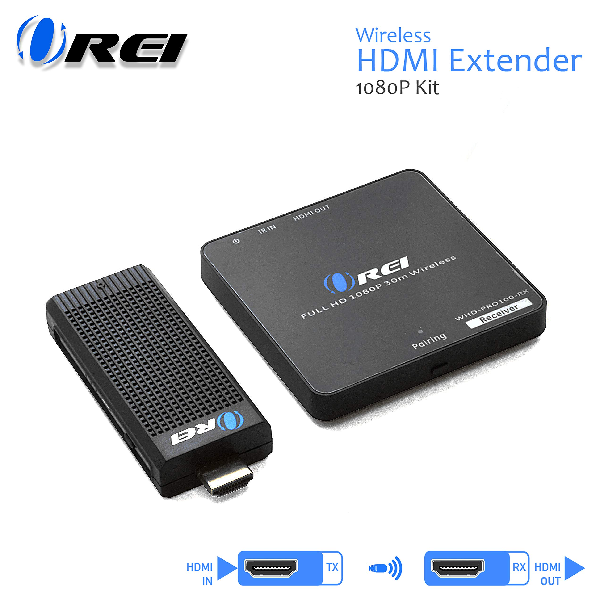 Wireless HDMI Transmitter & Receiver, by OREI - Extender Full HD 1080p Wirelessly Upto 100 Ft with Dongle - Perfect for Streaming, Laptops, PC, Media and More by Orei (Image #1)