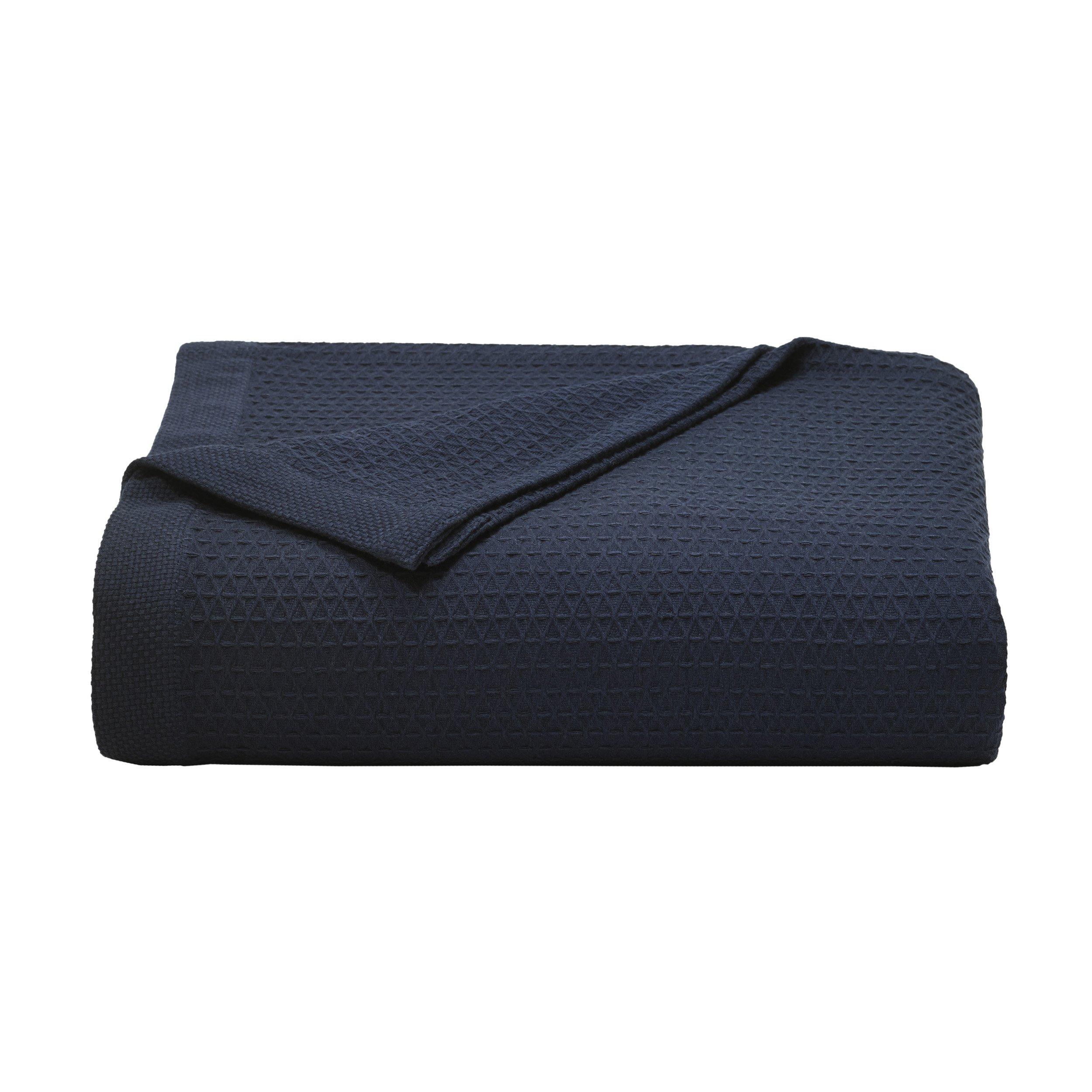 Nautica 216080 Baird Navy Cotton Blanket, Twin,Navy