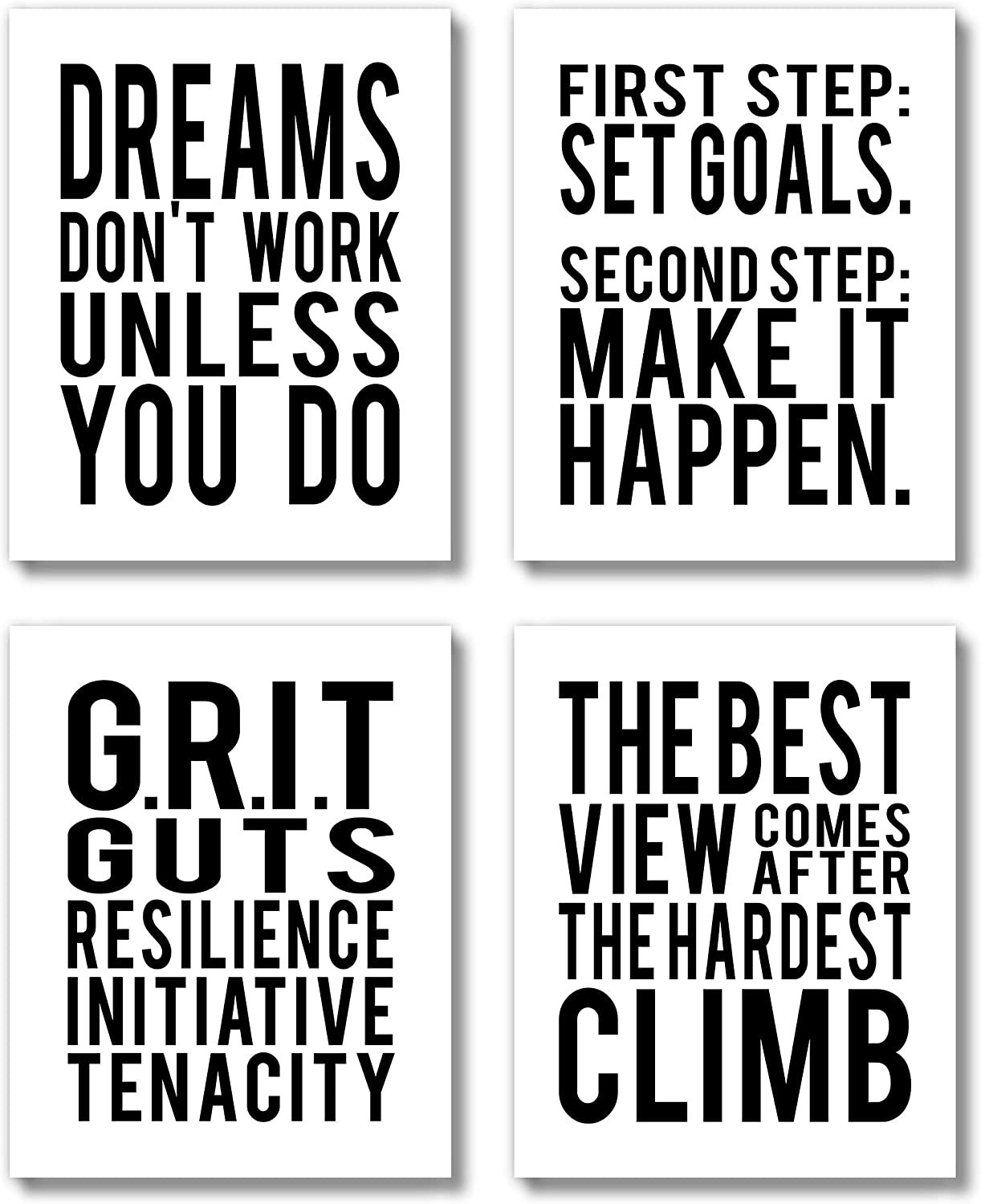 Brooke & Vine Motivational Quotes Wall Decor Posters Inspirational Wall Art Prints (UNFRAMED 8 x 10 Set of 4) Classroom Decorations - Office, Bedroom, Dorm, Cubicle, Gym - Goals, GritWhite
