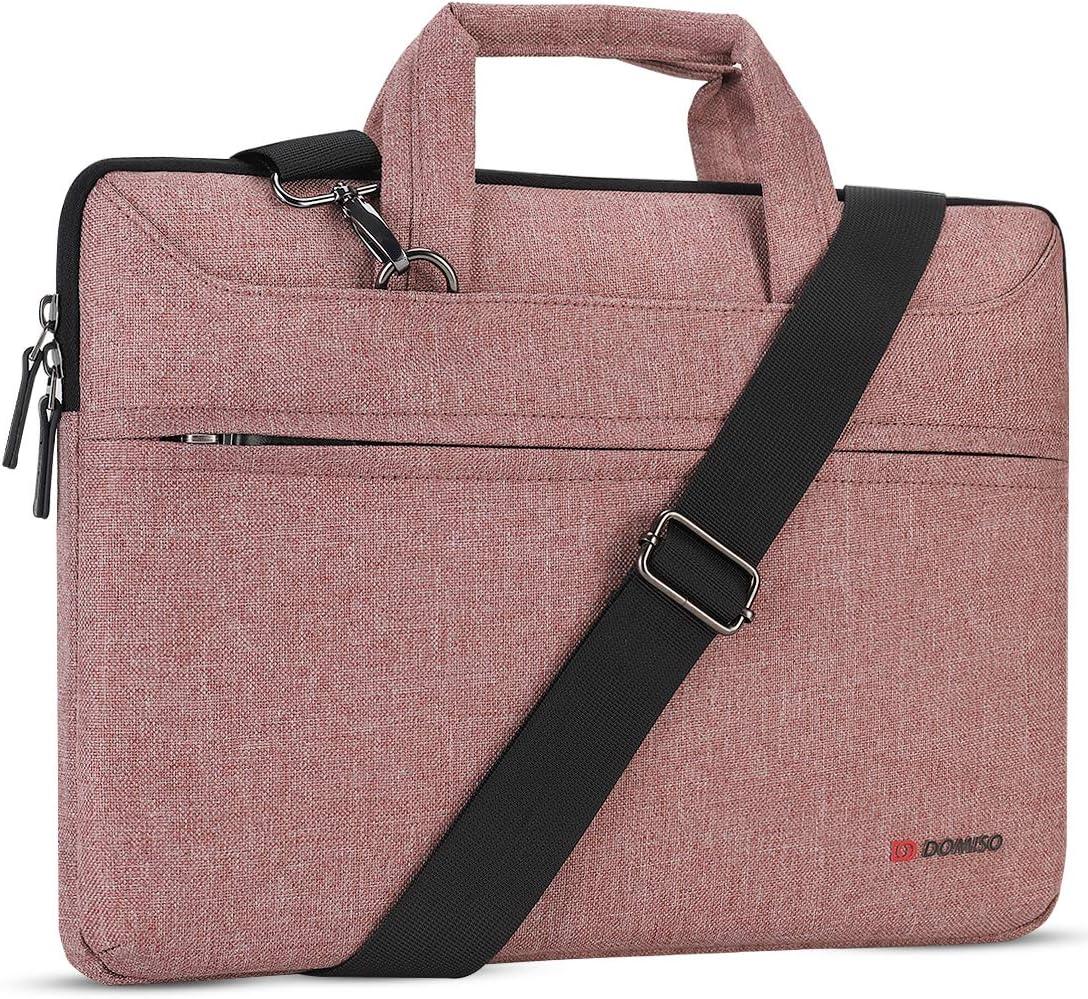 "DOMISO 13.3 inch Laptop Sleeve Shoulder Bag Water-Resistant Protective Messenger Bag Business Briefcase Handbag for 13"" MacBook Pro Retina/MacBook Air/13.3"" Dell Inspiron/XPS 13/Asus/Lenovo/HP, Pink"