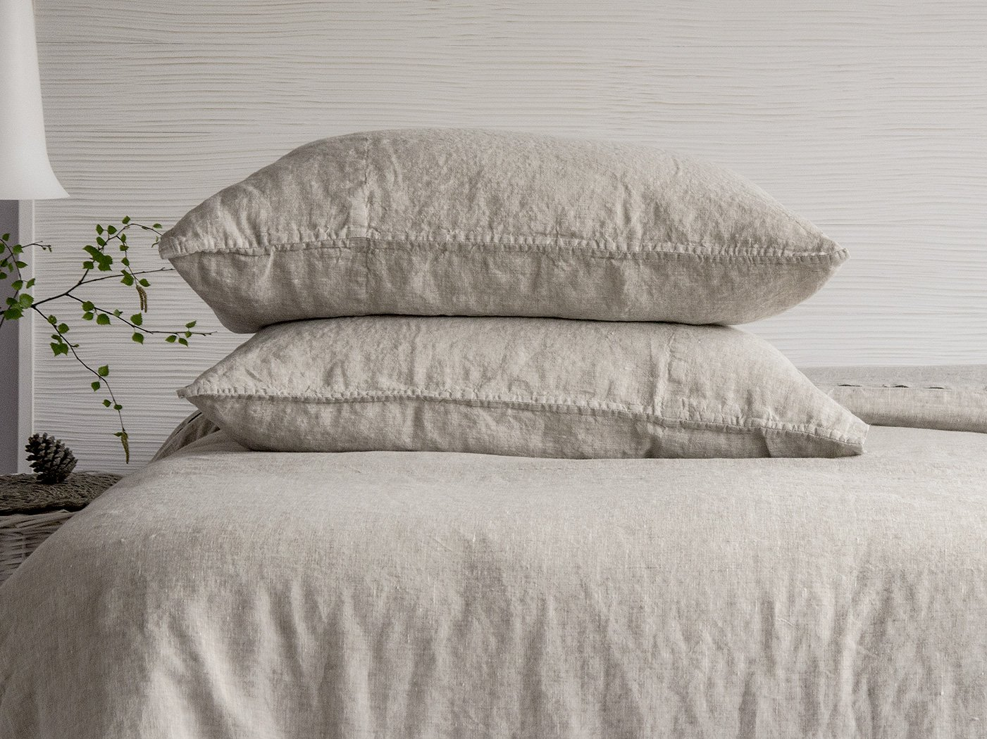 BEALINEN Linen Pillowcases Shams 2 pcs with Inside Pocket Closure Size EURO SQUARE 26''x26'' Natural Flax Gray Color Washed Softened European Linen
