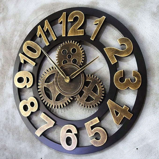 Vinteen Horologe Surdimensionné fait à la main 3D Retro Rustique Décoratif  De Luxe Art Big Gear En Bois Vintage Grand Horloge Murale Sur Le Mur Pour  Cadeau  ... e098f7022fea