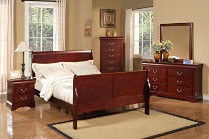 High Quality Alpine Furniture Louis Philippe II 5 Piece Bedroom Set, Queen Size