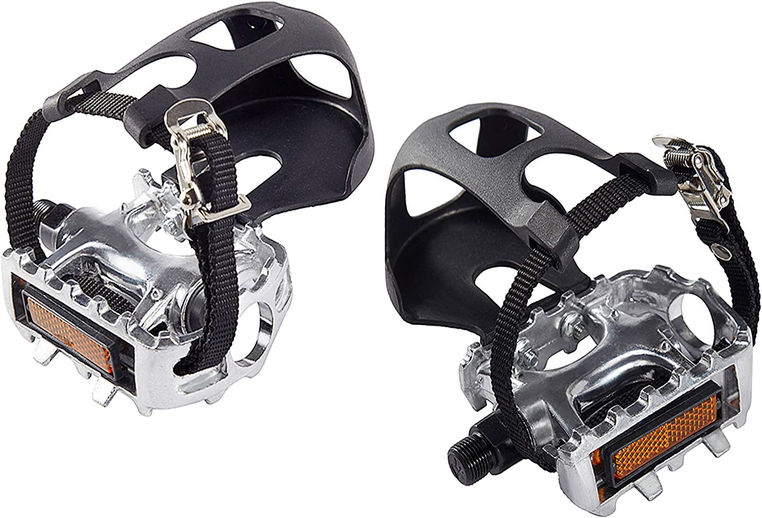 AbraFit 9/16-Inch Premium Quality Bicycle Pedals with Toe Clips and Straps, Easy to Install, Nice Toe-Room Area