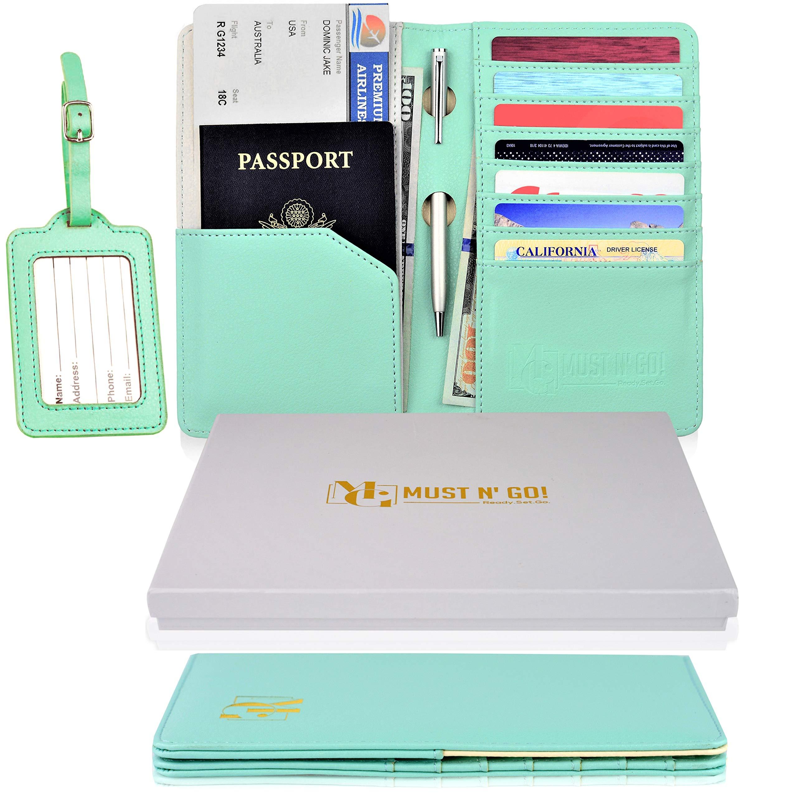 MUST N' GO! RFID Passport Holder for Women - Travel Passport Wallet RFID Blocking and Luggage Tag Set - Elegant Gift Box - Sky Green