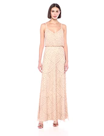 56ccfb49 Amazon.com: Adrianna Papell Women's Long Beaded Blouson Gown: Clothing