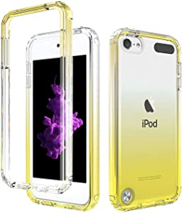 Yellow iPod Touch Case with Built-In Screen Protector for 5, 6, and 7 Generation, Anti-Scratch and Shock-Resistant Cover for Apple iPod with Soft-Grip Bumper, Transparent and Slim Fit Protective Shell