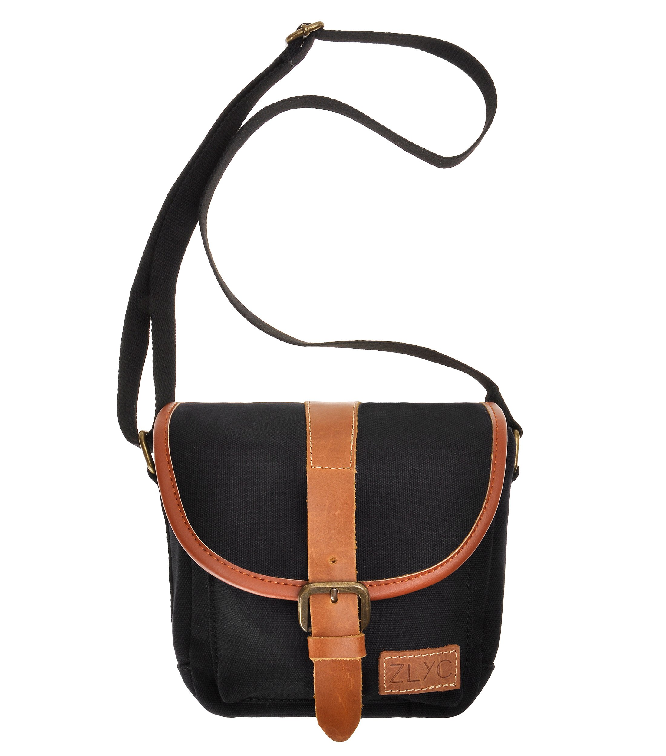 Canvas Camera Case ZLYC Leather Trim Mirrorless Bag Small Padded Shockproof Pouch Vintage Shoulder Purse Satchel for Women Men, Black