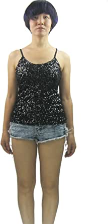 Whitewed Glitter Sparkle Paillettes Sequin Juniors Tank Stage Tops Shirt Women