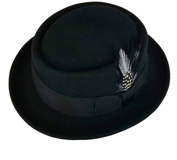 bfb057632c3 Different Touch Men s Crushable Wool Felt PorkPie Fedora Hats Black DTHE09  ...