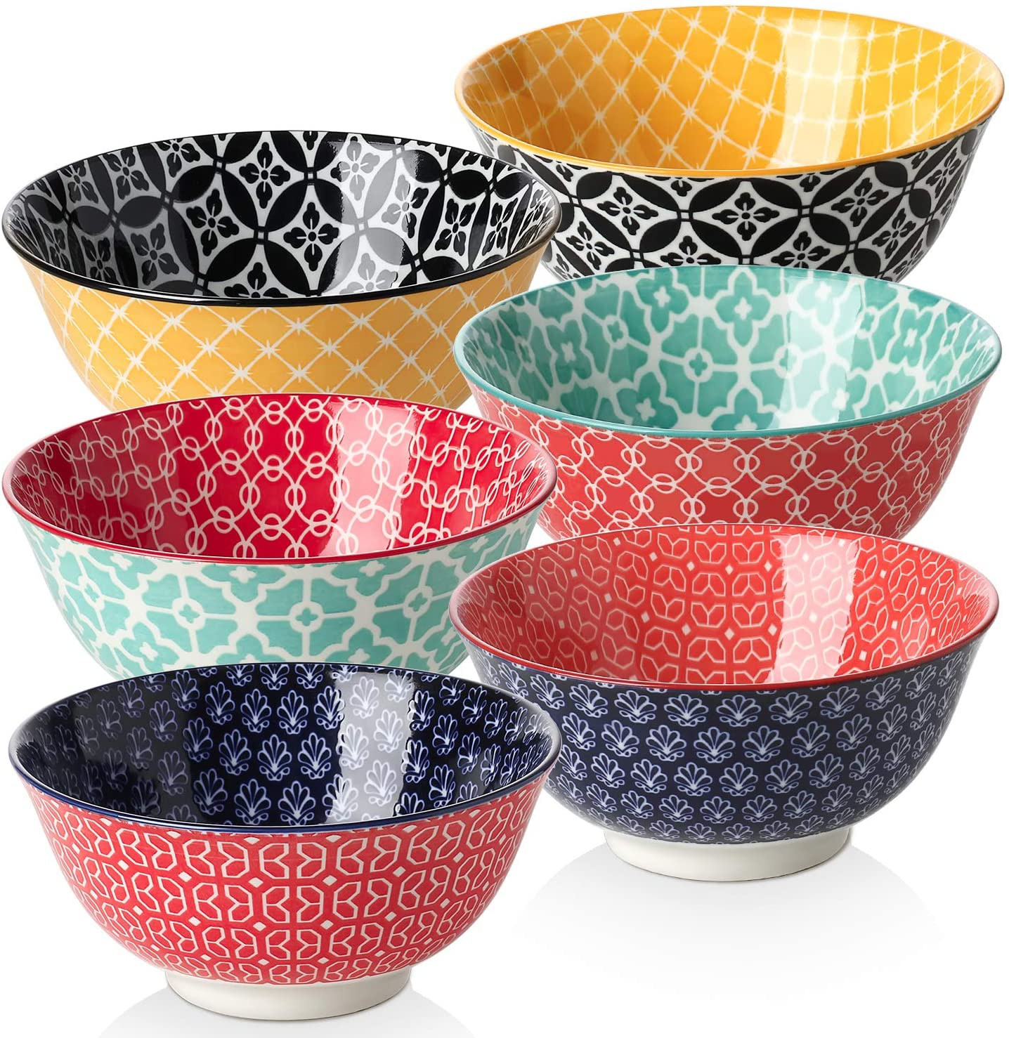 DOWAN Porcelain Dessert Bowls, 10 Fluid Ounces Vibrant Colors Small Bowls, Cute Snack Bowls for Ice Cream, Miso Soup, Side Dishes, Condiment, Microwave and Dishwasher Safe, Lightweight, Set of 6