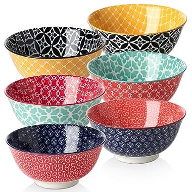 DOWAN 23 Ounces Porcelain Bowls Set, Cereal, Soup, Pasta Bowls, Set of 6, Colorful Design