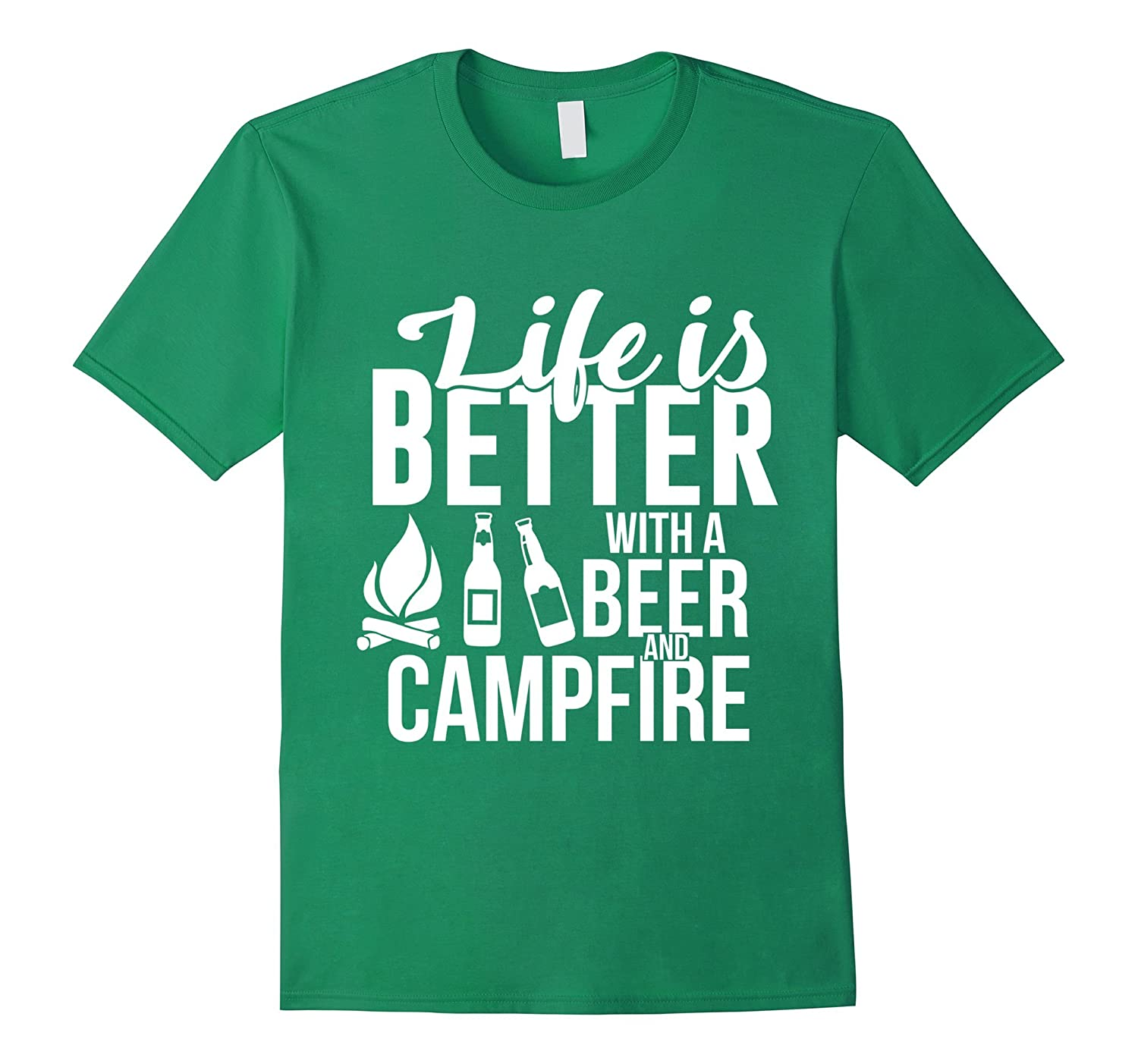 982c6d35 Funny Camping Tshirt Life is Better with a Beer and Campfire-anz ...