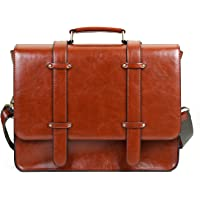 ECOSUSI Sac Cartable Vintage Sac Porté Epaule Sac à Main Rétro pour Femme Sac pour Ordinateur Portable 14.7'' 37x29x10cm