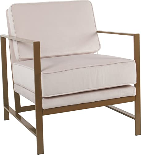 Spatial Order Hudson Modern Velvet Accent Chair with Metal Frame, Pink