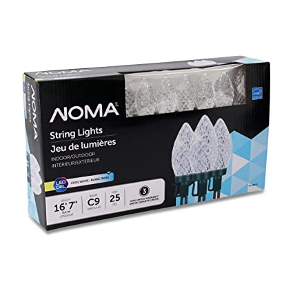 Noma Led Christmas Lights 25 Count C9 Clear Cool White Bulbs 16 8 String Light Ul Certified Outdoor Indoor