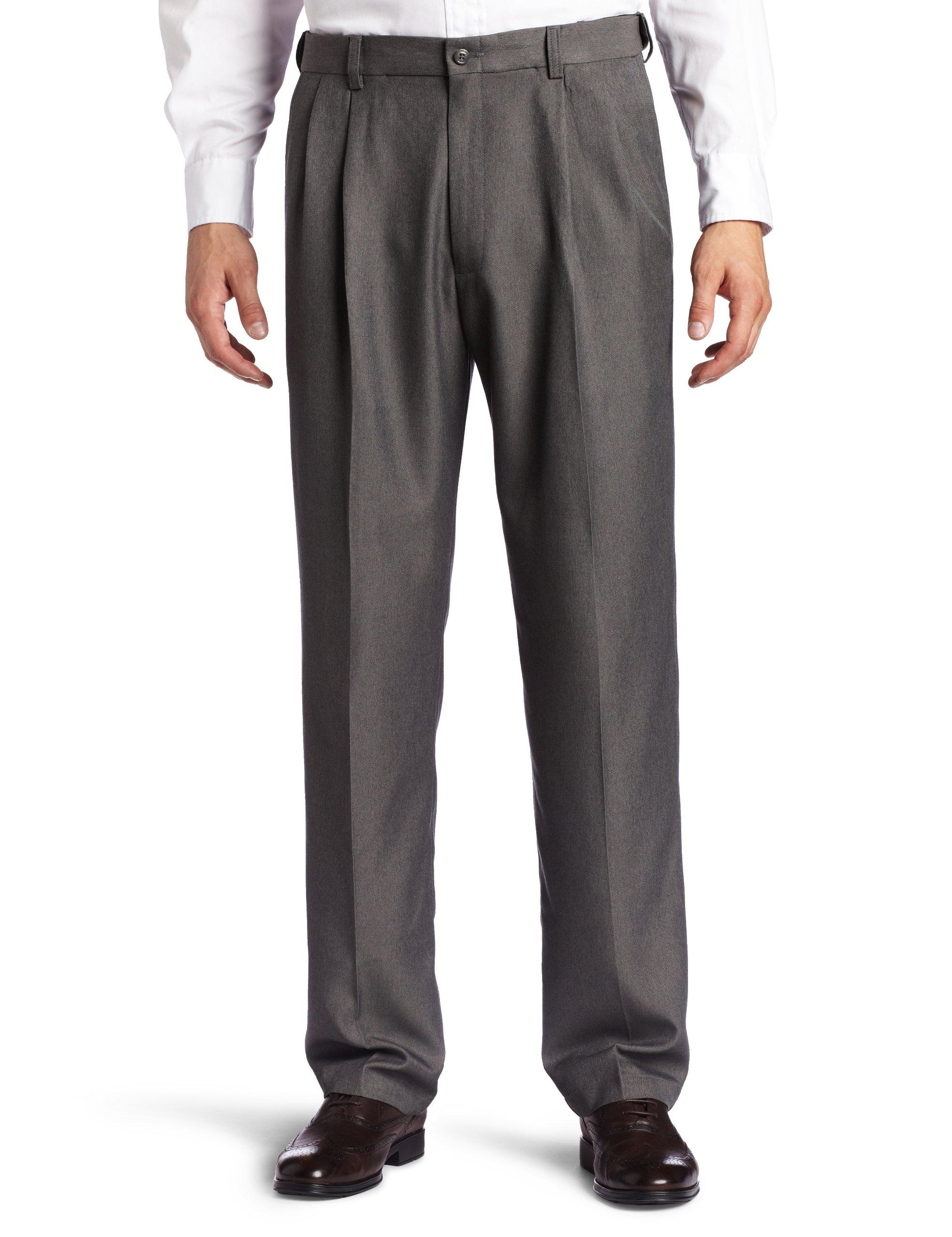 Haggar Men's Big-Tall Cool 18 Gabardine Hidden Expandable Waist Pleat Front Pant, Graphite, 46x30 by Haggar