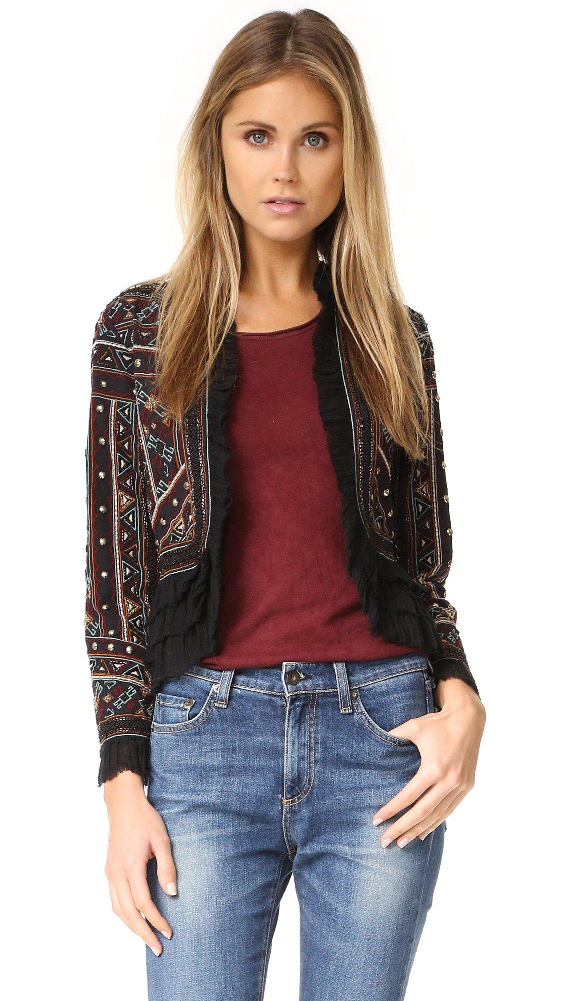 Love Sam Vannes Embroidered Jacket W/Ruffle Trim, Black, XS