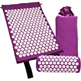 SODIAL Acupressure Massage Mat with Pillow for Stress/Pain/Tension Relief Body Relax(Purple)