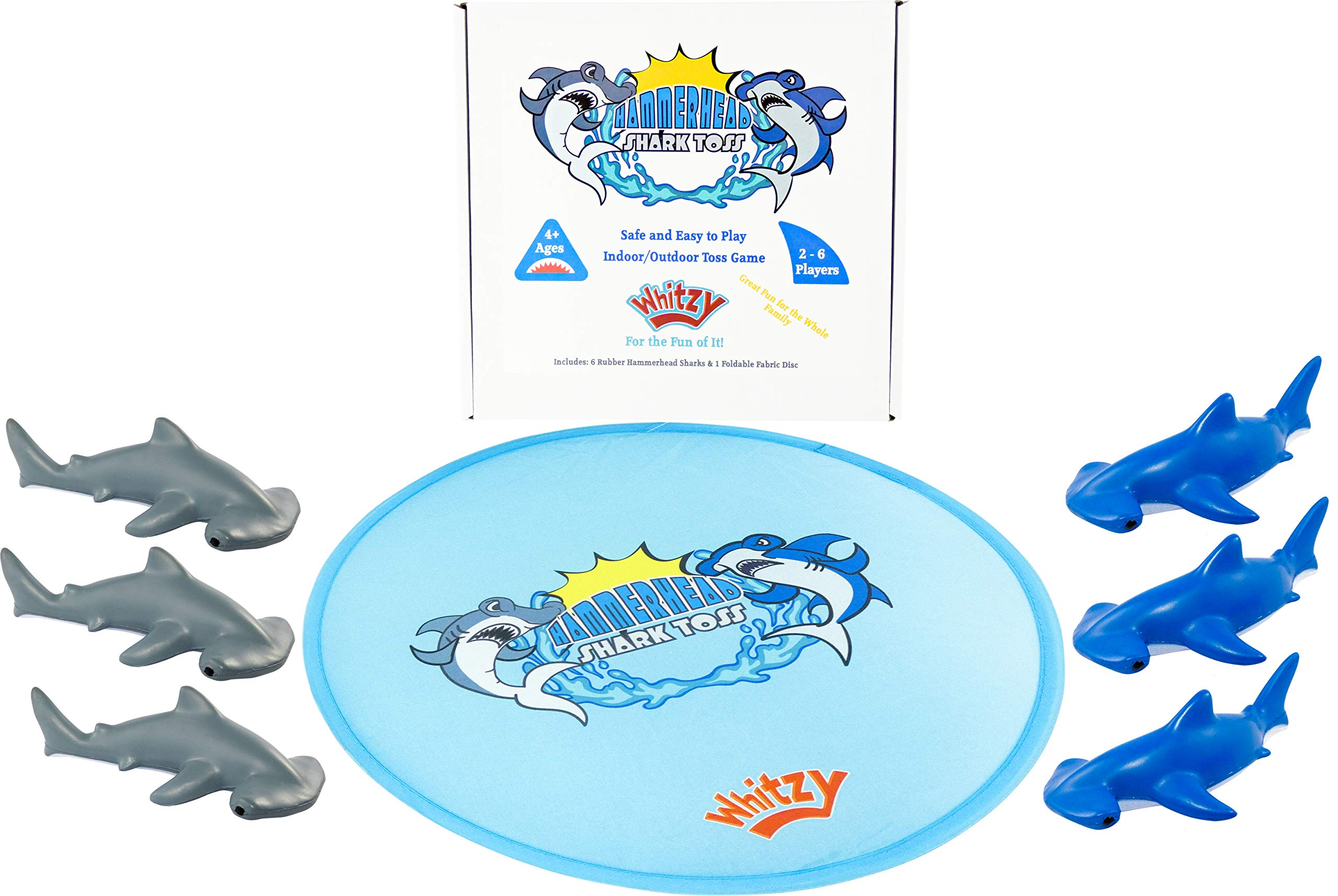 Whitzy Hammerhead Shark Toss Game - Indoor/Outdoor Safe Family Fun for All Ages Kids & Adults. Original Set of 6 Foam Rubber Sharks & 1 Target Ring for Lawn, Beach, Backyard, Camping, Tailgating