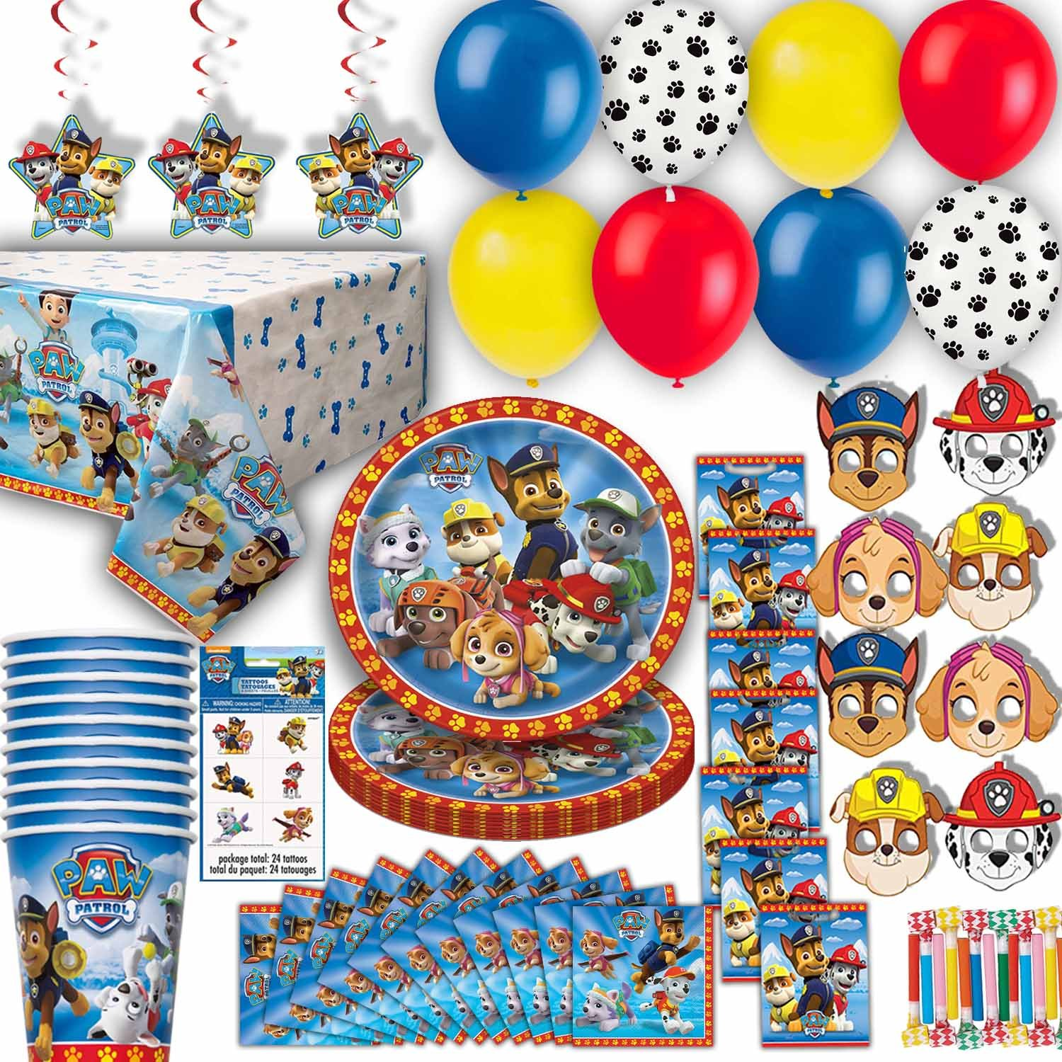 HeroFiber Paw Patrol Party for 8 - Plates, Cups, Napkins, Balloons, Masks, Loot Bags, Hanging Decorations, Tattoos, Table Cover, Party Blowouts - Paw Patrol Party Decorations and Supplies
