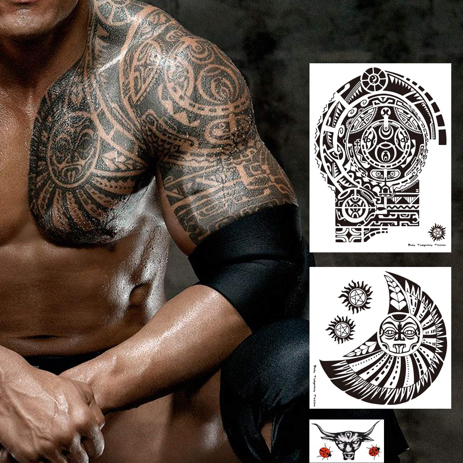 3fde2c1ea79c0 Amazon.com: Kotbs 3 Sheets Temporary Tattoos for Men Adults Guys - The Rock  Star Totem Tattoo Temporary Extra Large Tattoo Stickers Fake Tattoo: Beauty