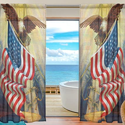 SEULIFE Window Sheer Curtain Eagle American Flag Voile Curtain Drapes for Door Kitchen Living Room Bedroom