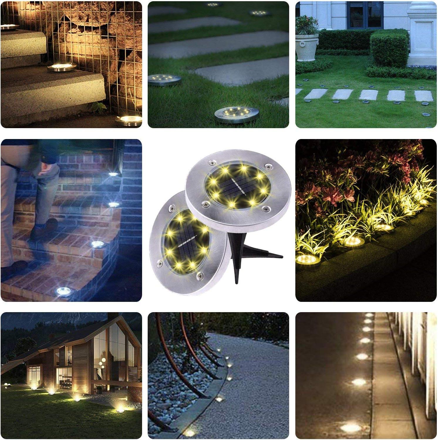 Solar Ground Lights - 8 Led Solar Garden Lights Outdoor,disk Lights Waterproof In-ground Outdoor Landscape Lighting For Lawn Patio Pathway Yard Deck Walkway Flood Light  Garden & Outdoor