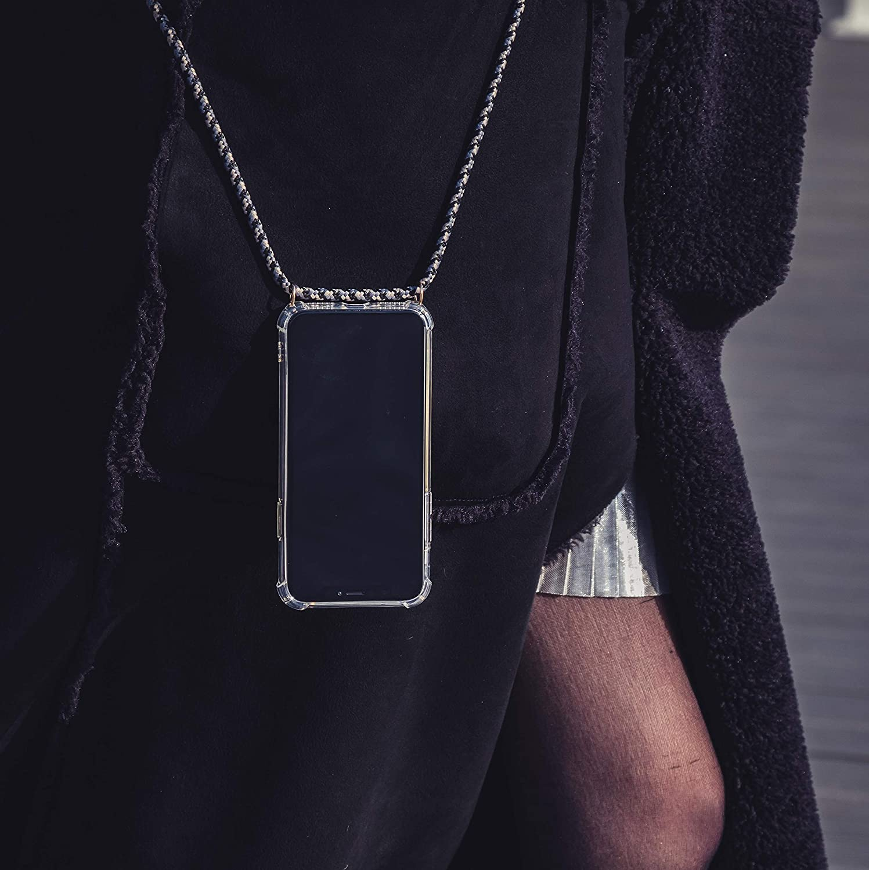 Housse Silicone Transparente Expatri/é Collier Pochette T/él/éphone Compatible iPhone XR Noir//Beige Lola Coque Smartphone Tour de Cou Lani/ère en Corde Case Necklace Bandouili/ère Styl/ée