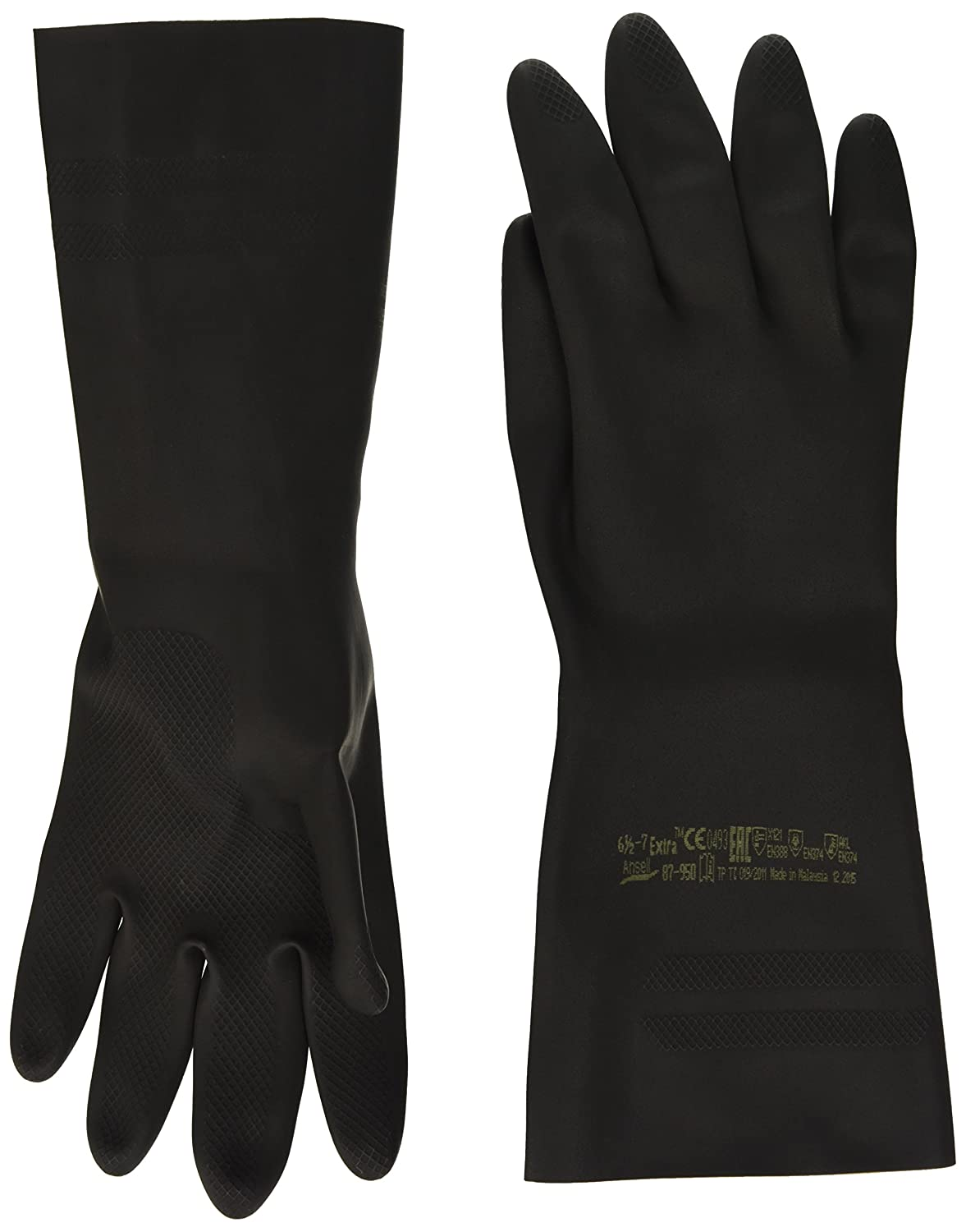 Ansell Extra 87-950 Natural rubber latex gloves, chemical & liquid protection, Black, Size 6.5-7 (Pack of 1 pair) Ansell Extra 87-950 / 6.5-7