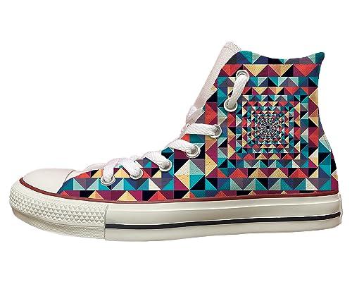 Zapatillas Converse All Star personalizadas con impresión de triángulos de colores multicolor Size: 32: Amazon.es: Zapatos y complementos