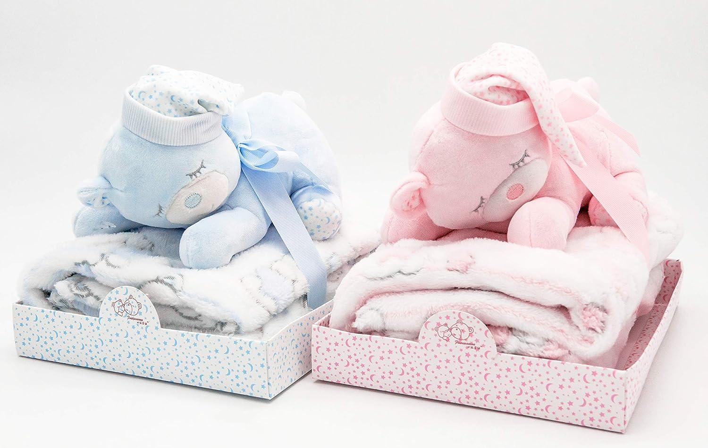 Baby Geschenk Set mit Kuscheldecke und Teddybär Schlafmütze BLAU