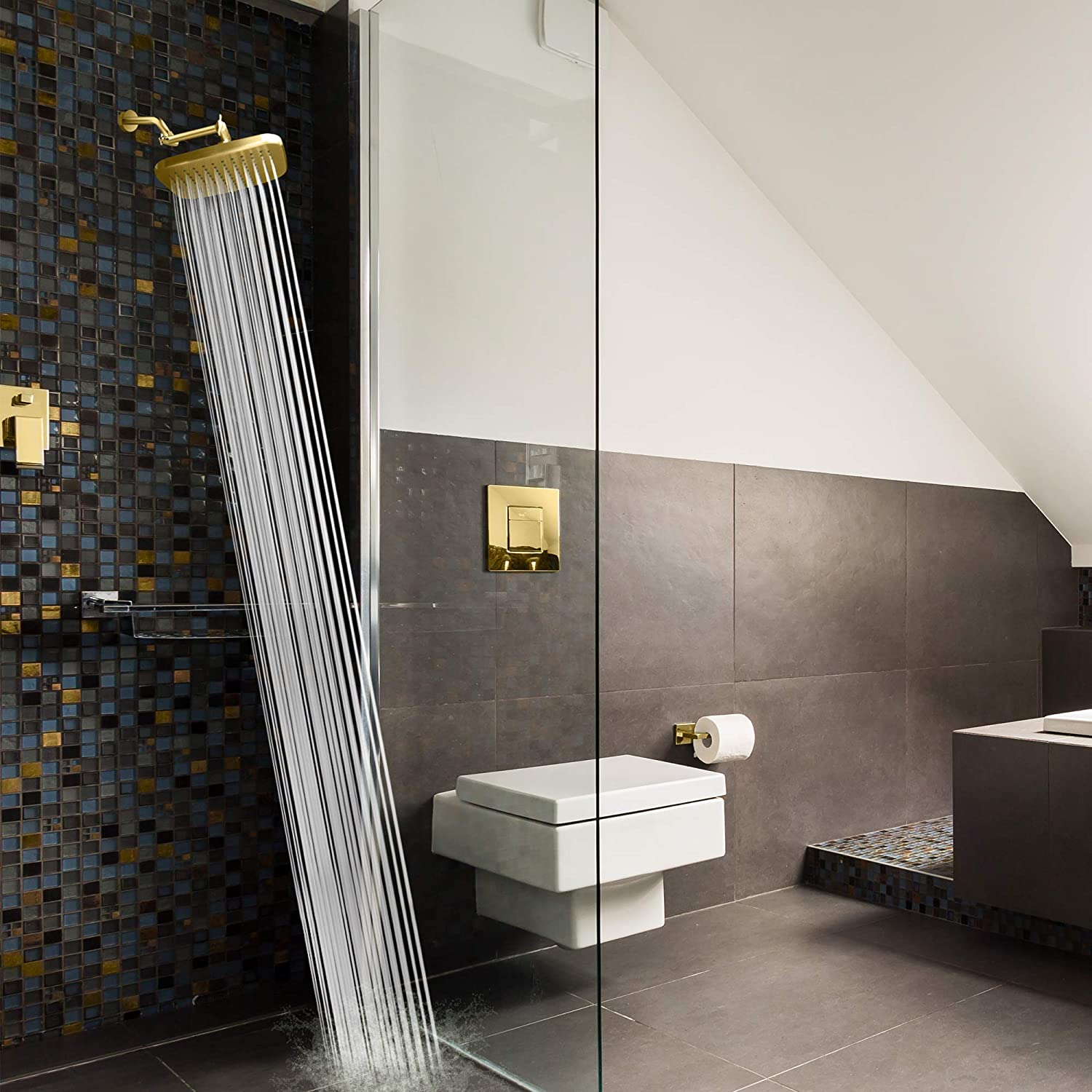 MAXX-imize Your Rainfall with Easy-to-Remove Flow Restrictor Rain Showerhead Elite Series ShowerMaxx 8.5 x 6.5 inch Rectangular High Pressure Rainfall Shower Head Polished Brass//Gold Finish
