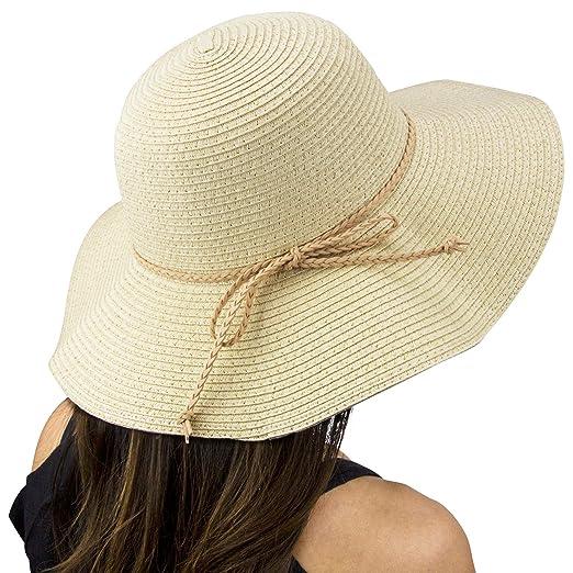 f46d5c57e Amazon.com: Fifth Ave Fair [Beige] Floppy Beach Hat - Wide Brim ...