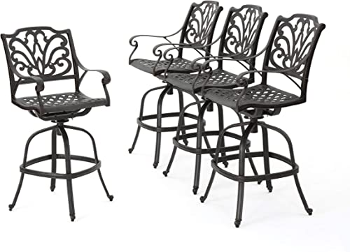 Christopher Knight Home Alfresco Outdoor Bronze Finished Cast Aluminum Barstools