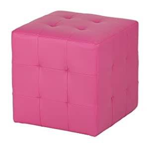Cortesi Home Leather Like Vinyl Braque Tufted Cube Ottoman, Pink