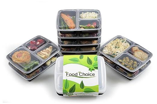 Contenedores de Alimentos Bento, Estilo Caja Almuerzo, Nuevo Diseño 3 Compartimientos, Apilable, Libre de BPA, Congelador, Lavavajillas, Seguro para ...