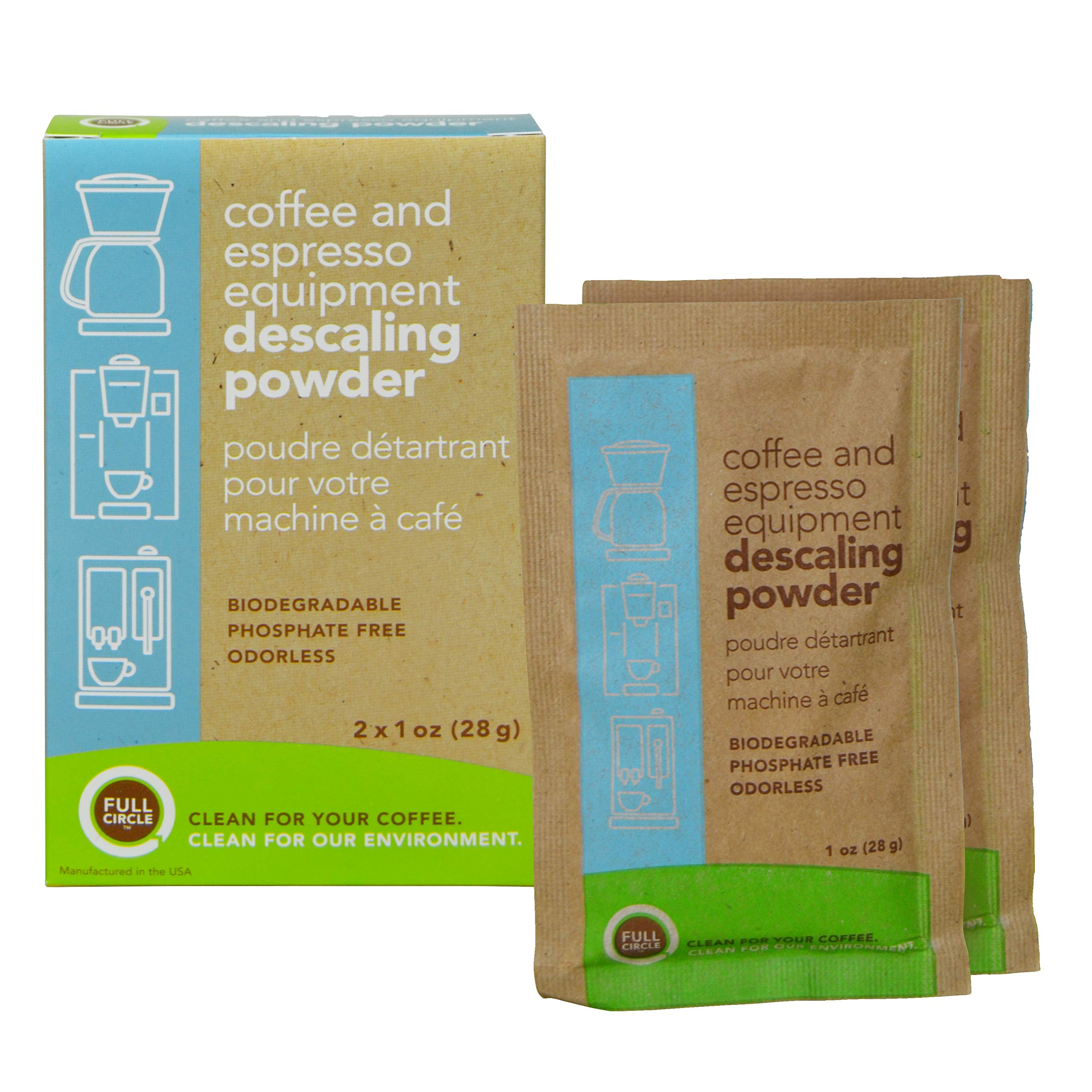 Full Circle Coffee and Espresso Machine Descaler - 2 Single Use Packets - Descaling Powder Safe