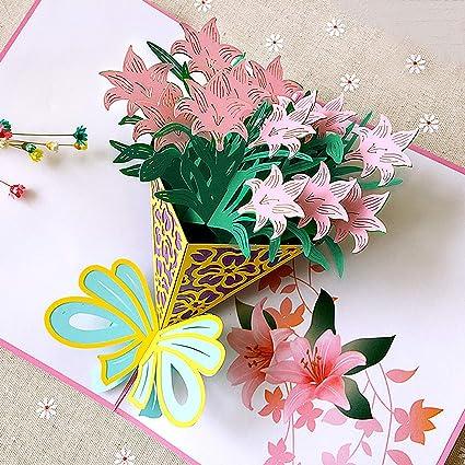 Tarjetas Felicitación de Flor, Tarjetas 3D Personalizadas Originales para Cumpleaños/Amor/Amiga/Regalo/Aniversario/Saludo/Bebes/Graciosas/Enamonados/A...