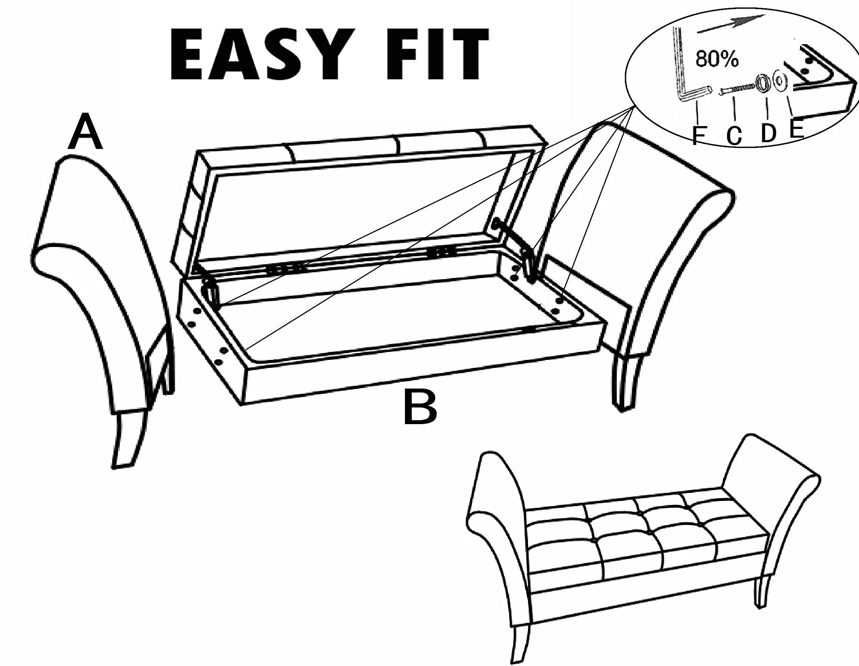 Homeharmony 174 Windsor Easy To Assemble Velvet Window Seat