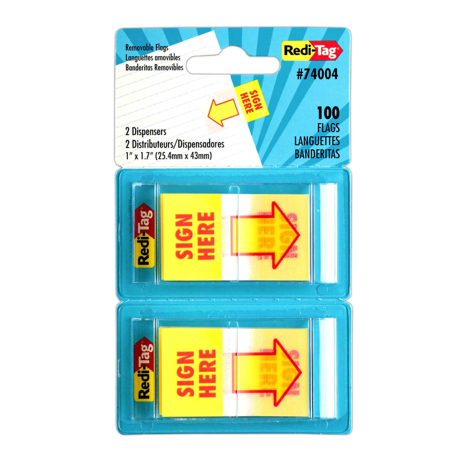 Redi-Tag Sign Here Printed Pop-Up Page Flags, 2 Dispensers per Pack, 100 Flags Total, 1 x 1.7 Inches, Yellow with Red Print (74004)