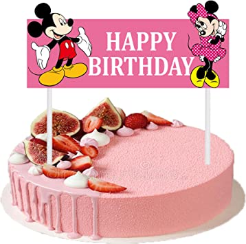 Astounding Cute Happy Birthday Cake Topper 6 3 Inches Mickey Minnie Mouse Personalised Birthday Cards Petedlily Jamesorg
