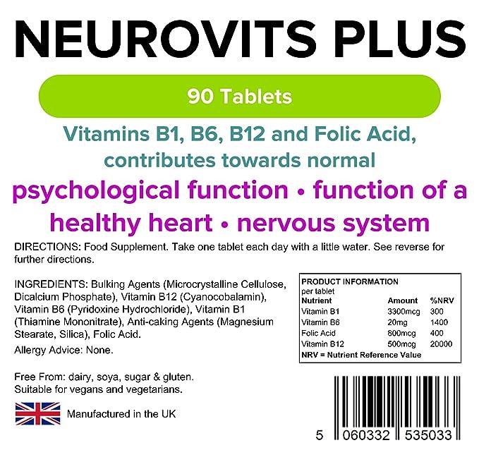 Lindens Neurovits Plus en comprimidos | 90 Paquete | Contiene vitaminas B1, B6, B12 y ácido fólico; contribuye al funcionamiento normal psicológico ya ...