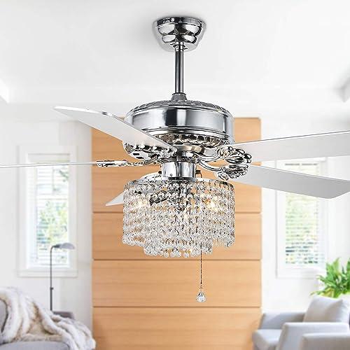 52″ Crystal Ceiling Fan Chandelier