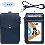 Leather Badge Holder with Zipper and Lanyard,1 Clear ID Window and 3 Card Slots with Flip Cover Protector, 1 Zipper Wallet Pocket on The Side,1 Detachable Lanyard/Strap (Blue)