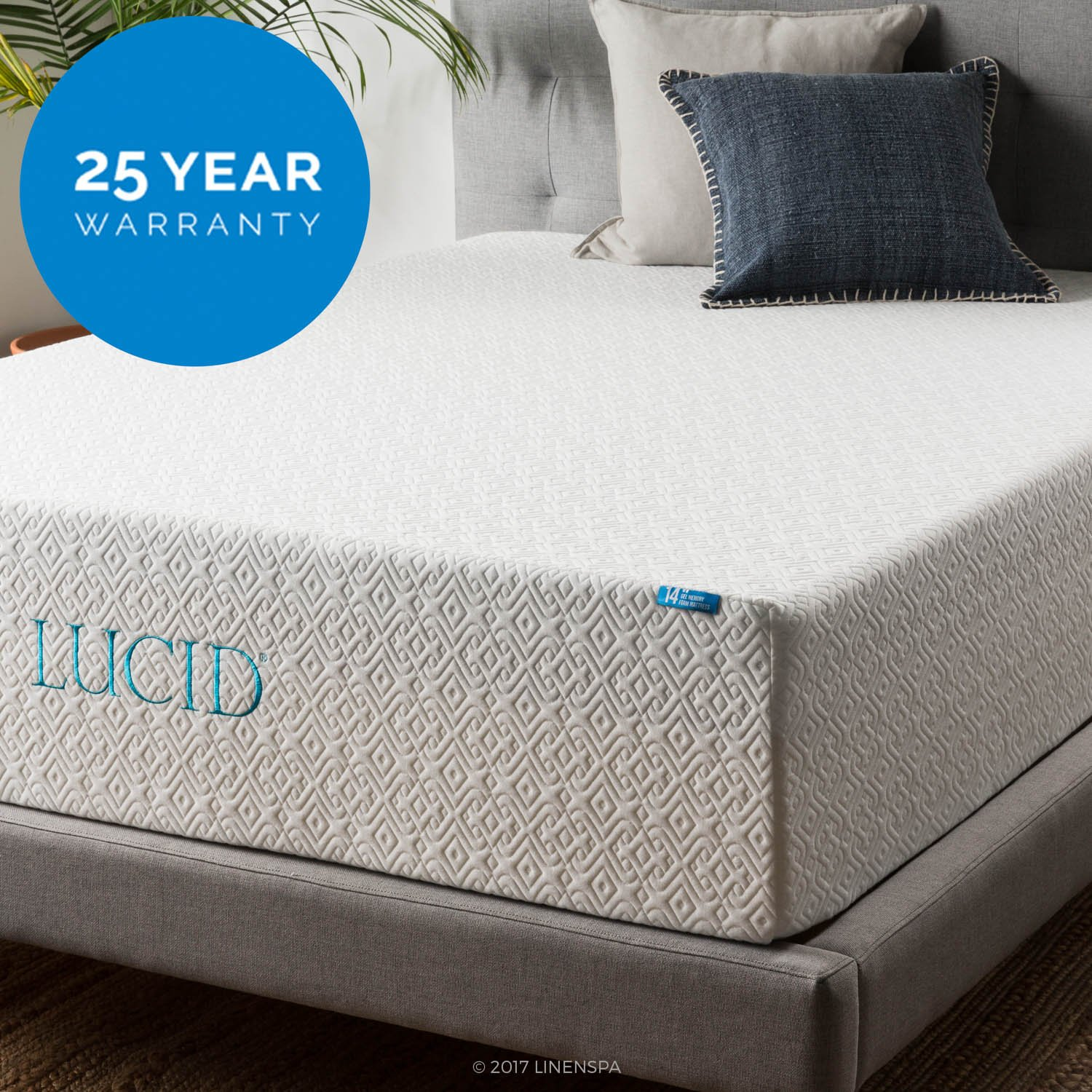Lucid 14 Inch Mattress Triple Layer 5 3 Pound Density Ventilated