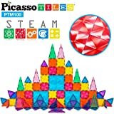 PicassoTiles 100 Pcs Magnetic Building Block Mini Diamond Series Travel Size On-The-Go Magnet Construction Toy Set STEM Learn