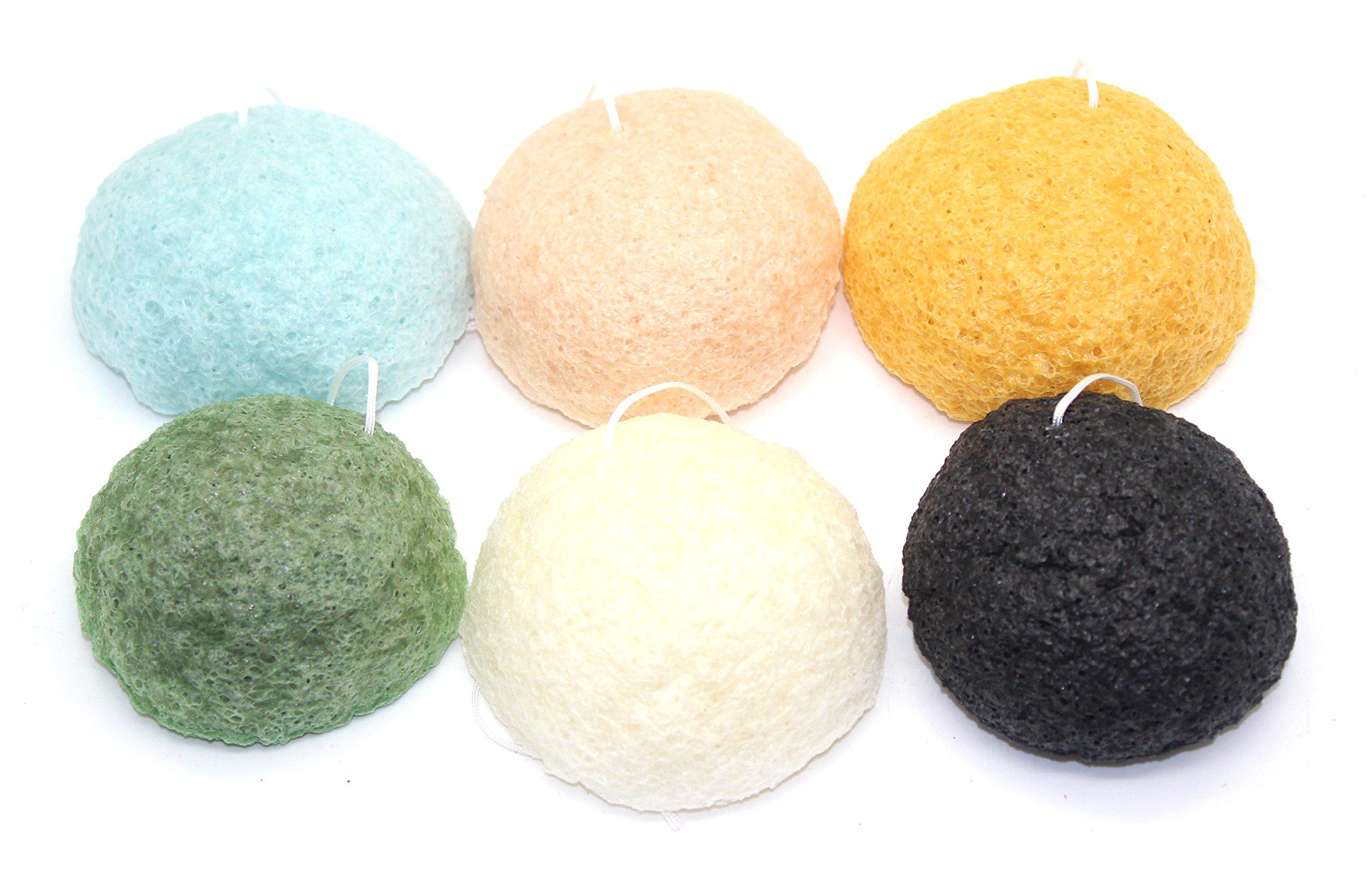 Konjac Sponge Puff - Set of 6 Varieties - Original, Charcoal, Cherry Blossom, Wild Mint, Yuzu, and Green Tea, Our Earth's Secrets Made in Japan