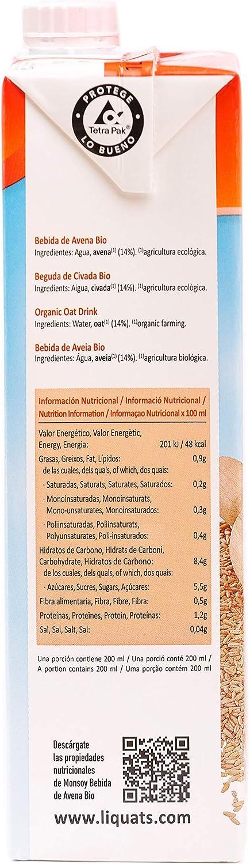 Monsoy - Bebida Vegetal Ecológica de Avena - Caja de 4 x 1L ...