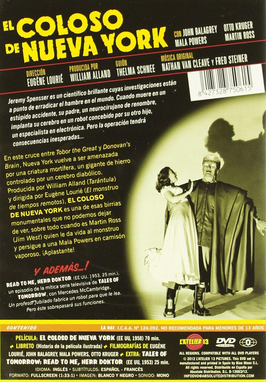 El Coloso De Nueva York The Colossus Of New York DVD: Amazon.es: John Baragrey, Mala Powers, Otto Kruger, Robert Hutton, Ross Martin, Charles Herbert, Eugène Lourié, John Baragrey, Mala Powers, William Alland: